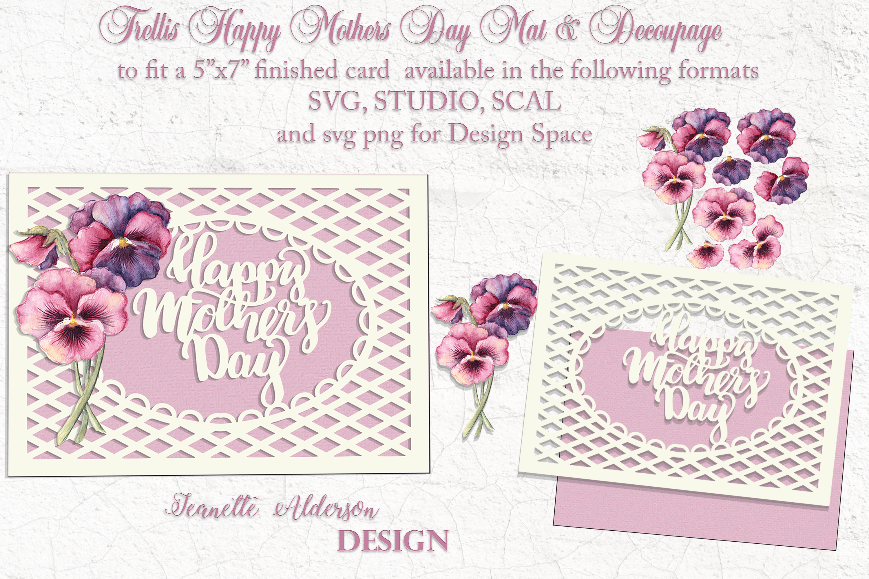 Mothers Day Pansies Card Cutting File SVG File