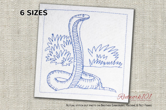 Naja Redwork Reptiles Embroidery Design By Redwork101