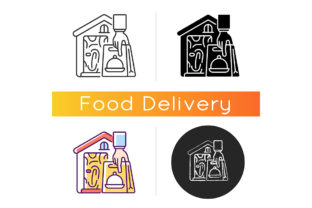 Print on Demand: No-contact Food Delivery Icon Graphic Icons By bsd studio