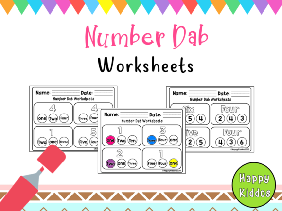 Number Dab Worksheets for Pre-K Graphic PreK By Happy Kiddos