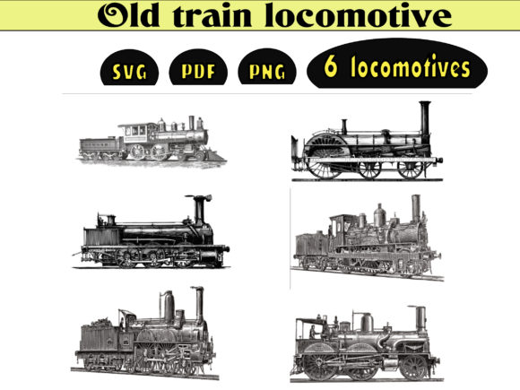 Print on Demand: Old Train Locomotive Graphic Illustrations By kdp Edition
