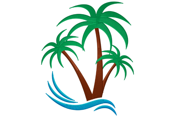 Palm Tree Floral & Garden Embroidery Design By Digital Creations Art Studio