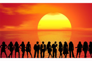 Print on Demand: People Sunrise Sunrise Ocean Sea Sun Graphic Illustrations By Chiplanay