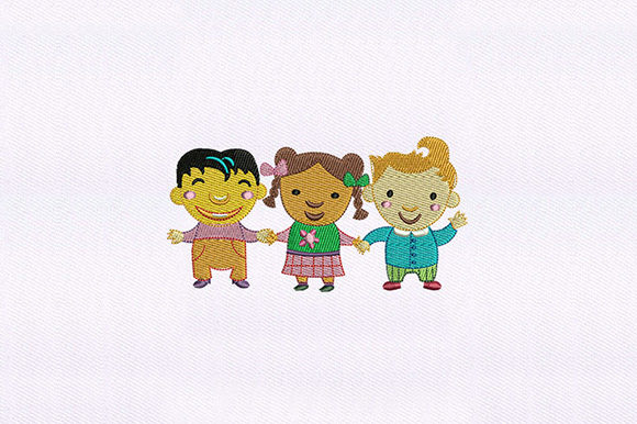 Playing Kids Boys & Girls Embroidery Design By DigitEMB