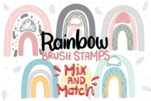 Print on Demand: Procreate Brush, Rainbow Brushes Stamp Graphic Brushes By Ginkean
