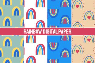 Print on Demand: Rainbows Digital Paper Graphic Patterns By Yapivector