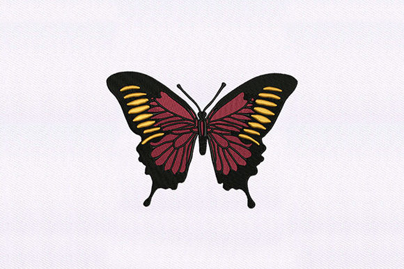 Red & Orange Butterfly Bugs & Insects Embroidery Design By DigitEMB