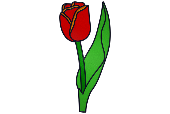 Red Tulip Floral & Garden Embroidery Design By Digital Creations Art Studio
