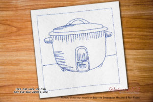 Rice Cooker Bluework House & Home Quotes Embroidery Design By Redwork101