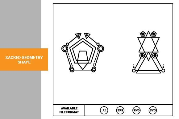 Print on Demand: Sacred Geometry Shape Graphic Icons By pnajlab