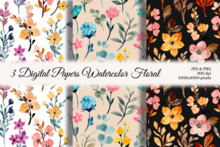Print on Demand: Seamless Pattern Floral Watercolor 103 Graphic Backgrounds By asrulaqroni