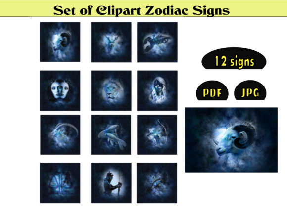Print on Demand: Set of Clipart Zodiac Signs Painting Graphic Illustrations By kdp Edition