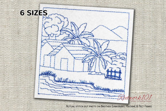 Small Village House with River Redwork Cities & Villages Embroidery Design By Redwork101
