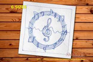 Sound Notes Bluework Music Embroidery Design By Redwork101