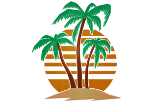 Print on Demand: Sunset with Palm Tree Island Travel & Season Embroidery Design By embroidery dp