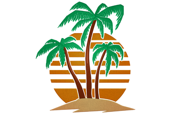 Sunset with Palm Tree Island Travel & Season Embroidery Design By Digital Creations Art Studio