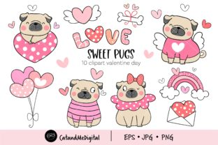 Sweet Pugs Valentine Clipart. Graphic Illustrations By CatAndMe