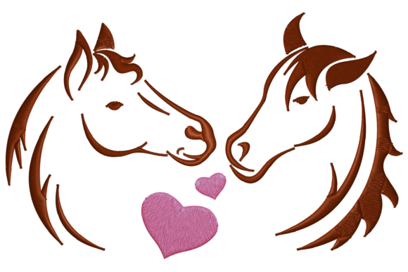 Two Horses in Love Farm Animals Embroidery Design By Digital Creations Art Studio