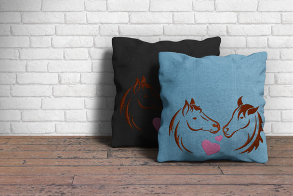 Two Horses in Love Embroidery Item