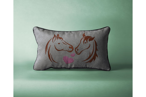 Two Horses in Love Embroidery Preview