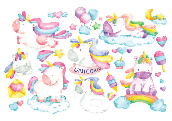 Unicorn Cartoon Set in Water Color Graphic Illustrations By Big Barn Doodles