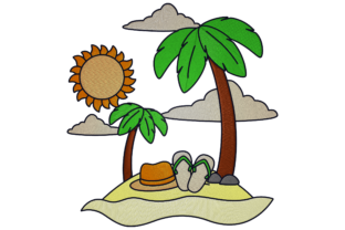 Print on Demand: Vacation Island Travel & Season Embroidery Design By embroidery dp