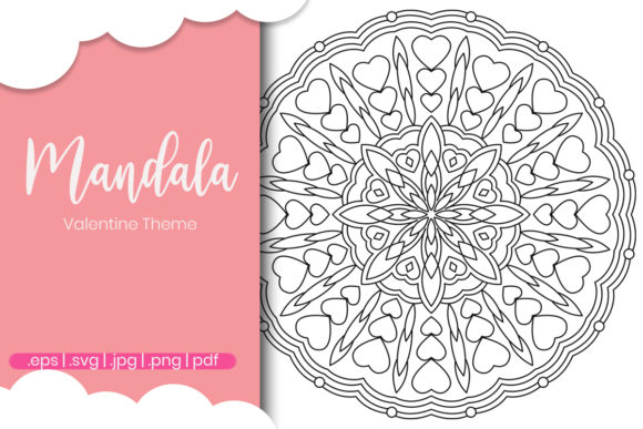 Print on Demand: Valentine Day Coloring Page for Adults Graphic Coloring Pages & Books Adults By doridodesign