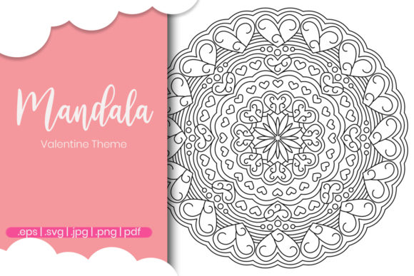 Print on Demand: Valentine Day Mandala Coloring Page Graphic Coloring Pages & Books Adults By doridodesign