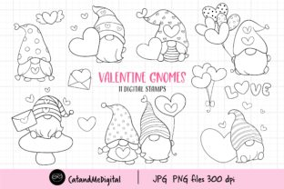 Valentine Gnome Digital Stamp Clipart. Graphic Illustrations By CatAndMe