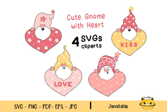Valentine Gnome with Heart Clip Art Set Graphic Illustrations By Janatshie