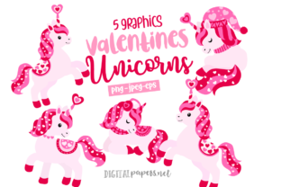 Print on Demand: Valentines Day Unicorns Graphic Illustrations By DigitalPapers