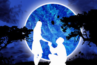 Print on Demand: Valentines Day Couples Full Moon Love Graphic Illustrations By Chiplanay