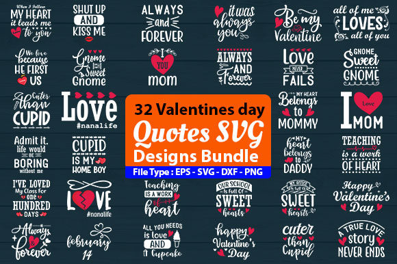 Print on Demand: Valentines Day SVG Designs Bundle Graphic Print Templates By Design Store