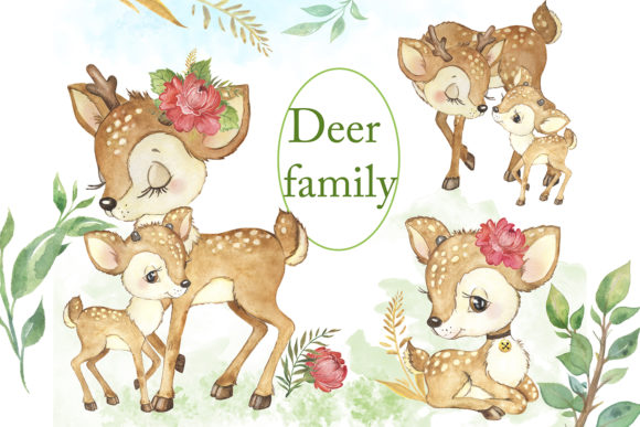 Watercolor Deer.Baby Deer.Forest Animals Grafik Illustrationen von EvArtPrint