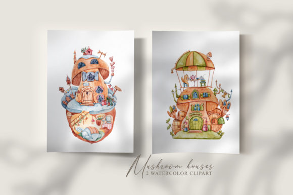 Print on Demand: Watercolor Mushroom Fairy Houses Clipart Graphic Illustrations By Tiana Geo