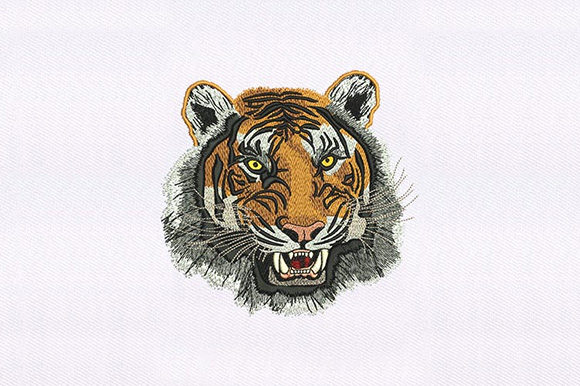 Wild Tiger Face Embroidery
