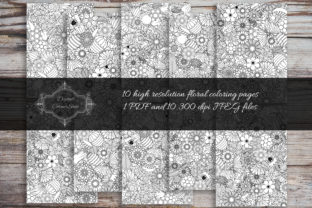 Print on Demand: 10 Floral Coloring Pages Graphic Coloring Pages & Books By digitalcornershop