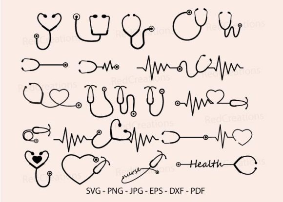 20 Stethoscope Svg Bundle, Healthcare Graphic Crafts By RedCreations