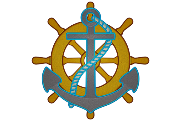 Anchor and Ship's Wheel Beach & Nautical Embroidery Design By Digital Creations Art Studio