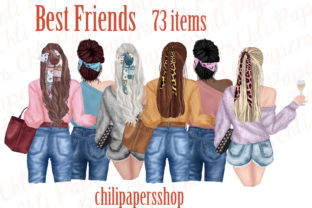 Print on Demand: Best Friends Clipart,Fashion Girls Graphic Illustrations By ChiliPapers 1