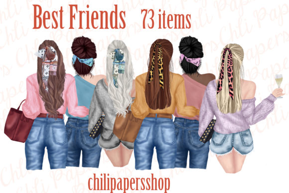 Best Friends Clipart,Fashion Girls Graphic Illustrations By ChiliPapers
