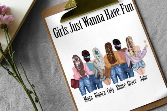Best Friends Clipart,Fashion Girls Graphic Preview