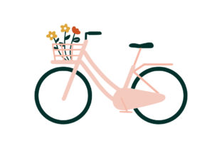 Print on Demand: Bicycles Flowers Bouquet in Front Basket Graphic Illustrations By Musbila
