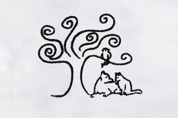 Black & White Tree Forest & Trees Embroidery Design By DigitEMB