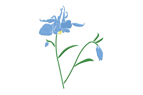 Print on Demand: Blue Columbine Flower Single Flowers & Plants Embroidery Design By EmbArt