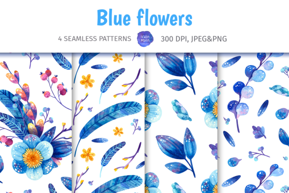 Print on Demand: Blue Floral Seamless Patterns, Botanical Graphic Patterns By ValinMalin
