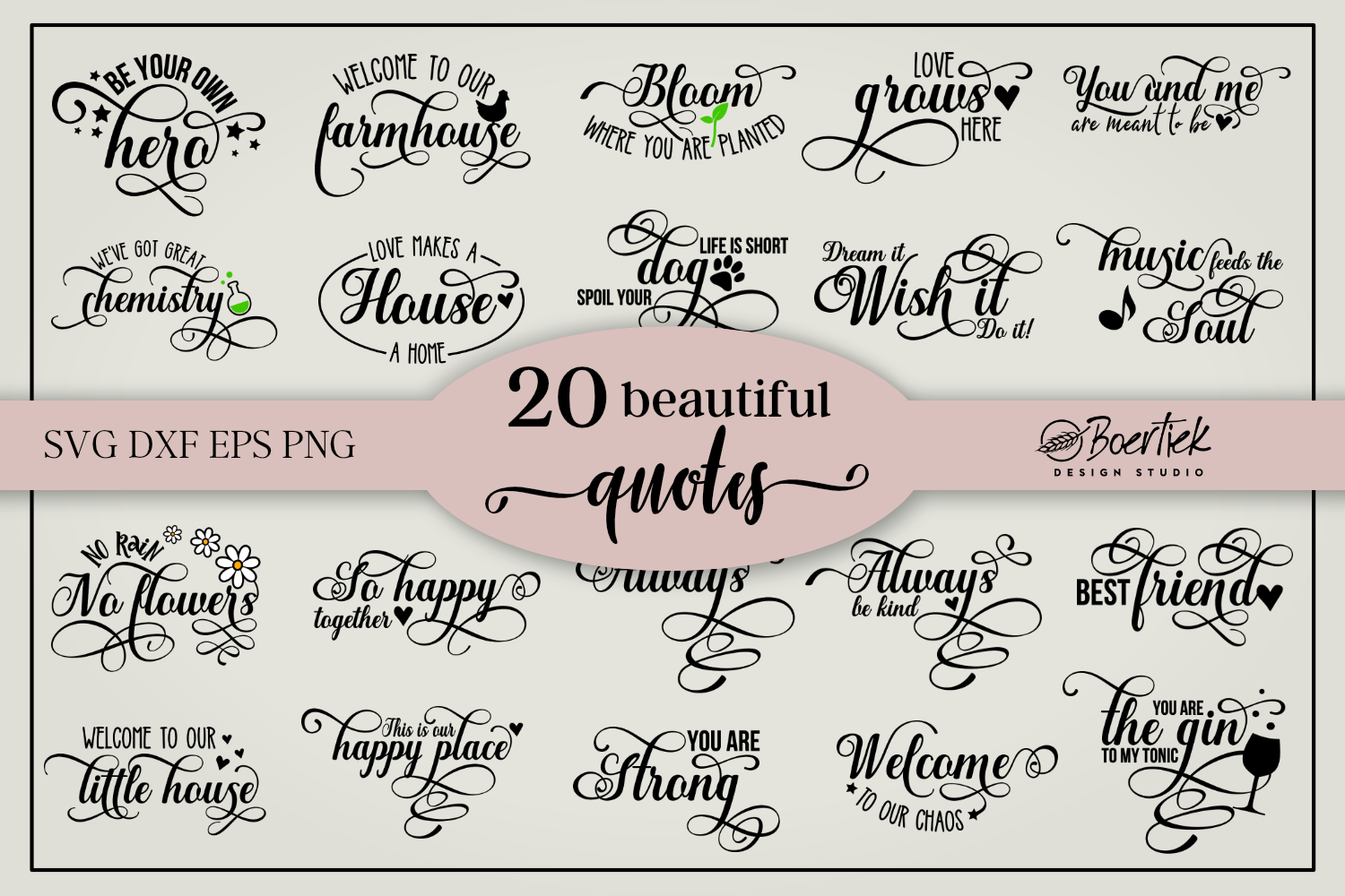 Bundle of 20 Beautiful Quotes SVG File