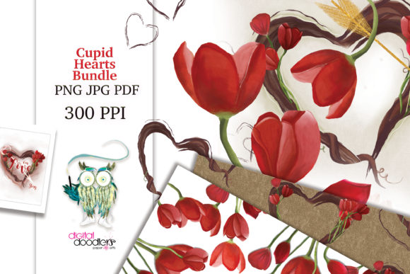 Print on Demand: Cupid Hearts Watercolor Bundle Graphic Illustrations By Digital Doodlers