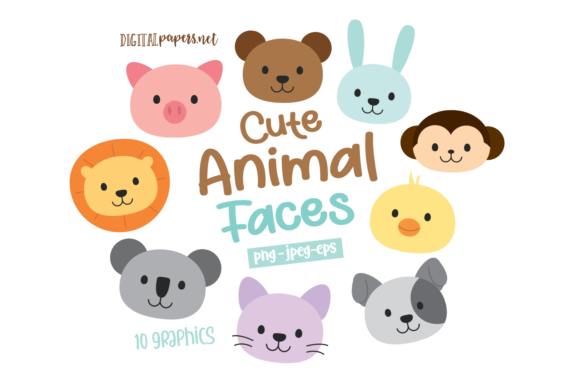Print on Demand: Cute Animals Faces Clipart Graphic Illustrations By DigitalPapers
