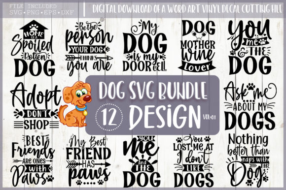 Print on Demand: Dog SVG Bundle, Dog Quote Svg,funny Svg Graphic Crafts By PrintableSvg